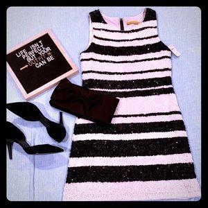Alice + Olivia 100%silk, B&W sequins dress- NWT
